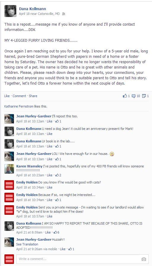 Dana's FB Post About Otto